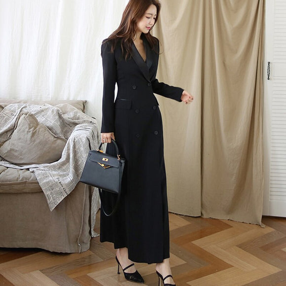 New Autumn Winter Office Lady Runway Designer Women Long Trench Coat Notched Collar Wrap Black Maxi Outwear|Trench