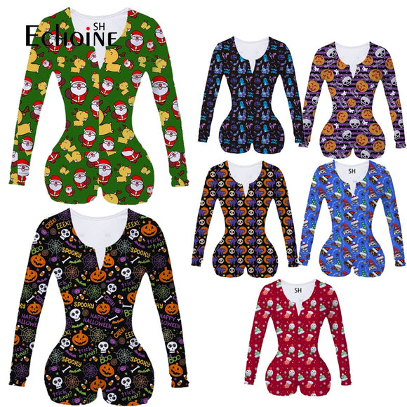 Echoine New Women Sexy V Neck adult Onesies Jumpsuit Sleepwear Christmas Halloween full Sleeve Shorts Bodycon Bodysuit plus size