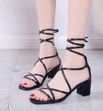 2020 new women's word belt sandals with straps Roman shoes thick with lace high heel sandals - goldylify.com