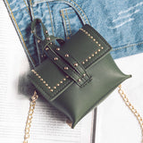 2020 new Korean fashion women's small children Ladies Handbag Shoulder Bag rivets simple Xiekua package - goldylify.com
