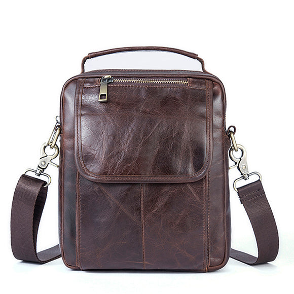 Manufacturers selling leather bags for Men Retro casual shoulder bag man head layer chain Crossbody vertical section of bovine skin - goldylify.com