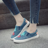 In the autumn of 2020 new students canvas shoes female Korean pedal flat loafer denim casual shoes - goldylify.com