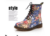 New western cowboy style Europe and America handsome retro small floral flat with boots high help Martin boots - goldylify.com