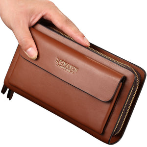 LEINSEN mobile phone leather handbag bag business men bag zipper hand bag purse derivative one generation - goldylify.com