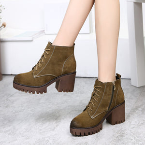 2020 new winter boots leather boots with cashmere rough heels boots boots children shoes lady Martin - goldylify.com