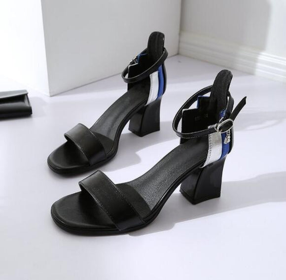 Square head high heel sandals - goldylify.com