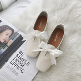 Square Toe Ballet Bowknot Slip-on Flat shoes - goldylify.com