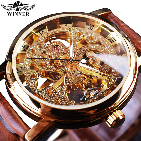 Gewinner Transparent Goldene Fall Luxus Casual Design Braun Lederband Herren Uhren Top Brand Luxus Mechanische Skeleton Uhr|watch top|watch top brandwatch brand