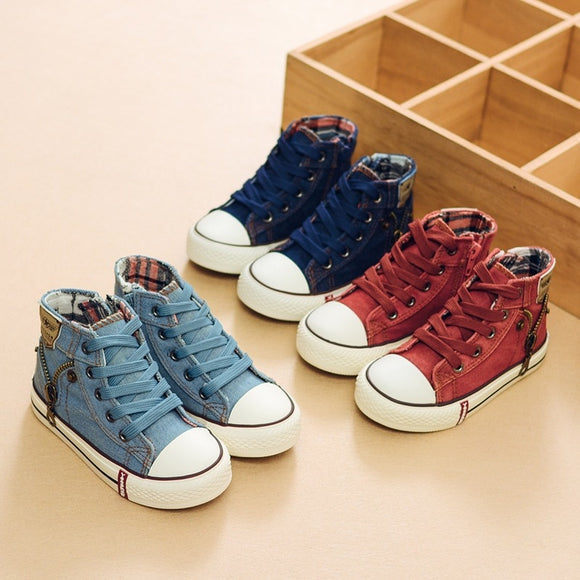 2020 Autumn Expert Skill Children Casual Shoes Boys Girls Sport Shoes Breathable Denim Sneakers Kids Canvas Shoes Baby Boots