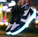 LED sports shoes sneakers high top USB