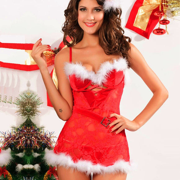 Christmas Sexy Lingerie Women Festival Red Hollow Lingerie Thong Set Underwear Lenceria Sexi Para Mujer Women Lingerie Erotic