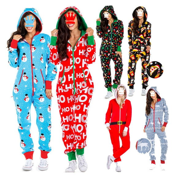 Sexy Onesies For Adults 2020 Newest Autumn Winter Long Sleeve V neck Funny Pattern Print Pajama Romper Women Christmas Nightwear