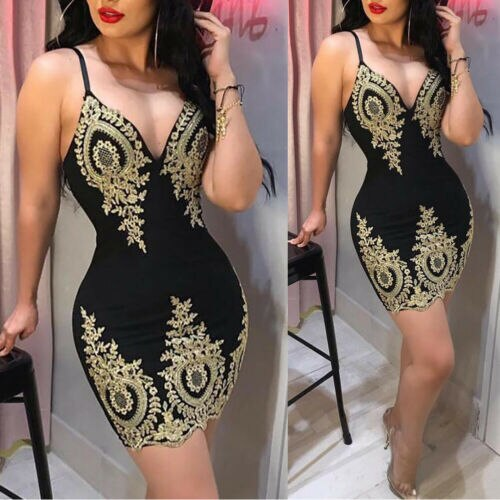 2019 New Womens Slim Print arrival Sling Spaghetti Bodycon Lace Strappy Ladies Evening Party Mini Short Dress Size S XL V Neck|Dresses|
