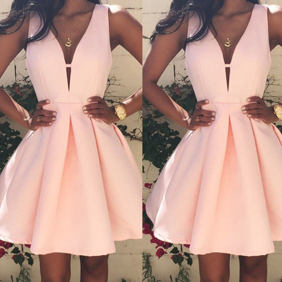 Brand New Women Solid Pink Casual Sleeveless Deep V neck Party Evening Cocktail Mini Dress