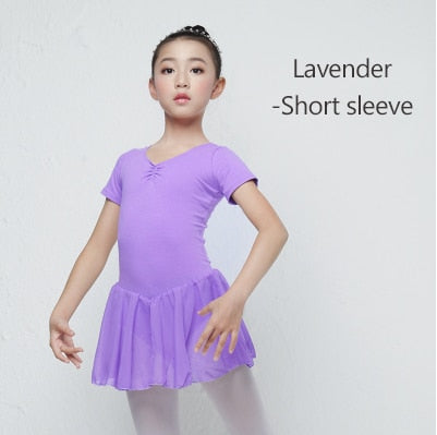 Children Long/Short Sleeve Ballet Leotard Girls Kids Cotton Dance Training Dress Chiffon Skirted Leotard