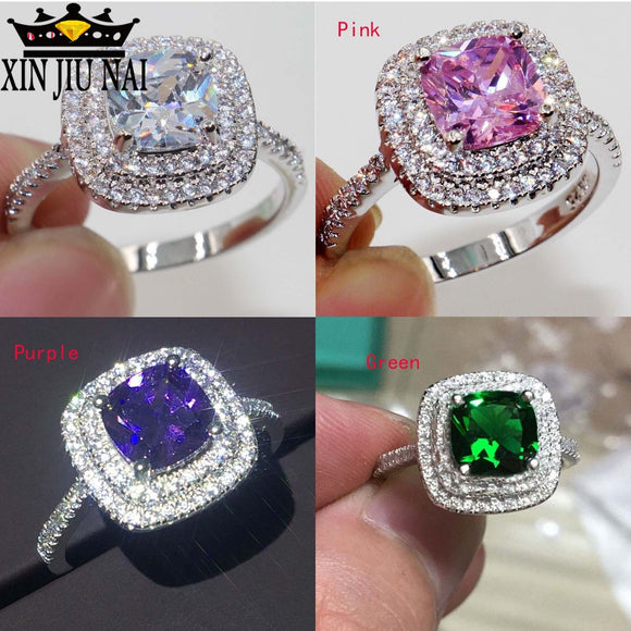 4 Colors Cut 8mm AAAAA Zircon Cz 925 Anillos Silver Women Wedding Ring Engagement Band /Pink/Purple Color Exquisite Bijoux 6-10 - goldylify.com