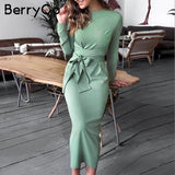 BerryGo Elegant lace up bow tie midi women dress High waist office ladies vestidos Autumn winter bodycon female party dresses - goldylify.com