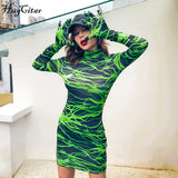 Hugcitar 2019 long sleeve lightning print with gloves sexy mini dress autumn winter women streetwear outfits club pattern clothi - goldylify.com
