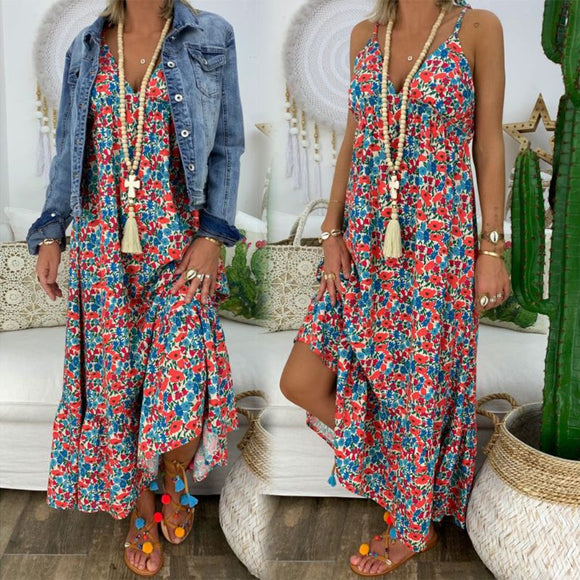 Womens Boho Floral Maxi Dress Party Strappy Summer Beach Holiday Spaghetti Strap Sundress Plus Size S M L XL 2XL 3XL 4XL 5XL - goldylify.com