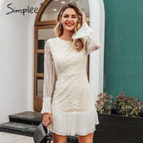 Simplee Sexy high waist white dress Elegant hollow out geometric lace dress Ruffled sleeve office lady autumn short party dress - goldylify.com
