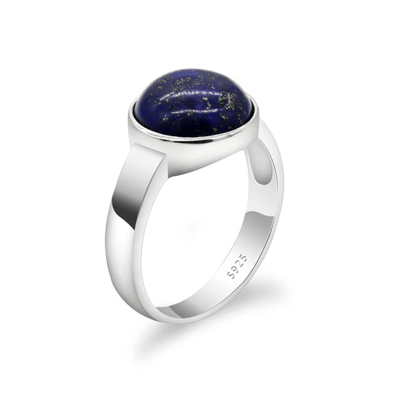 S925 Sterling Silver Blue Natural Stone Rings Vintage Lapis Lazuli Solid Silver Men Women Ring Jewelry for Engagement Gifts - goldylify.com