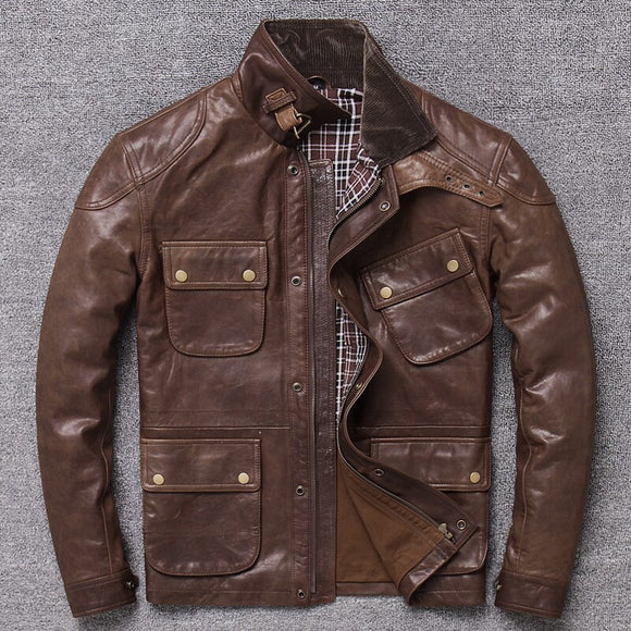 Autumn And Winter New Style First Layer Oil Wax Sheep Leather Genuine Leather Clothes Men's Workwear Short Slim Fit Jacket - goldylify.com