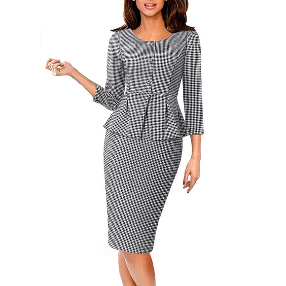 Vfemage Women Vintage Elegant Peplum Buttons Puff Sleeve Slim Work Business Office Church Party Bodycon Pencil Sheath Dress 1309 - goldylify.com
