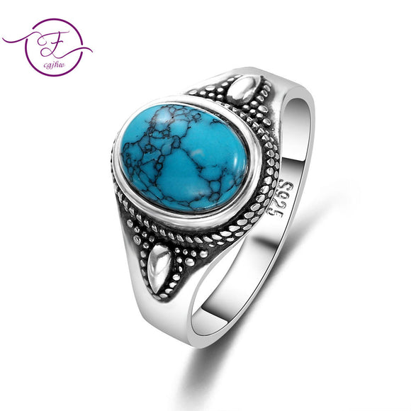 925 Sterling Silver Natural Turquoise Engagement Rings for Women Men Vintage Fine Jewelry Hot Sale Party Ring Gift - goldylify.com