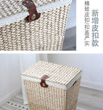 Nordic vine straw clothes storage box laundry basket laundry basket with lid storage basket dirty clothes large size storage b - goldylify.com