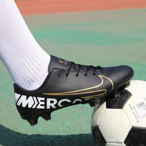 Men Football Soccer Boots Athletic Soccer Shoes 2019 New Leather High Ankle Soccer Cleats Training Football Sneaker Futsa - goldylify.com