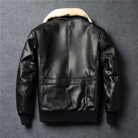 Street Mens Real Leather Jacket Wool Collar Detachable Sheepskin Pilot Outerwear High Quality Winter Warm Zip Casual Short Coat - goldylify.com