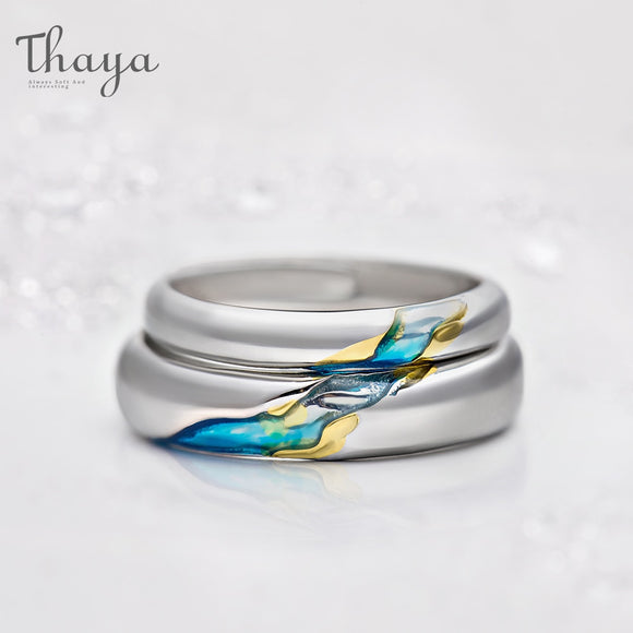 Thaya S925 Silver Couple Rings The Other Shore Starry Design Rings for Women Men Resizable Symbol Love Wedding Jewelry Gifts - goldylify.com