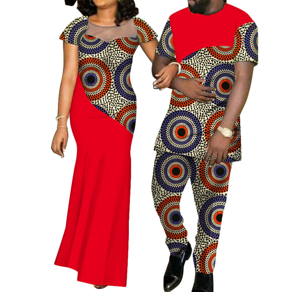 Wholesale Party Wedding Dresses Pursure Cotton African Style Traditional Party Dress Clothing for Women a nd Men, men%27s+shirts