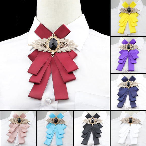 Women Solid Bow Tie Gorgeous Vintage Chic Bowtie Elegant Jewelry Collar Cravat Adjustable Detachable Collars Shirt Accessory - goldylify.com