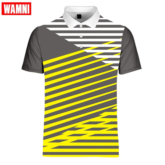 WAMNI Fashion Men Gradient 3D Polo Shirt Casual Vitality Sport Turn-down Collar Table Tennis Stripe Male Short Sleeve Polo-shirt - goldylify.com