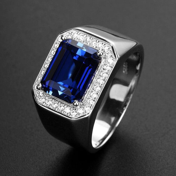 Vintage Unique high quality sapphire Beryl with cubic zirconia 925 sterling silver Ring for woman Men Fine Jewelry gift - goldylify.com