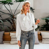 Simplee Casual pink long sleeve women blouse shirt Summer spring neck tie blouses shirt Elegant work wear loose female solid top - goldylify.com