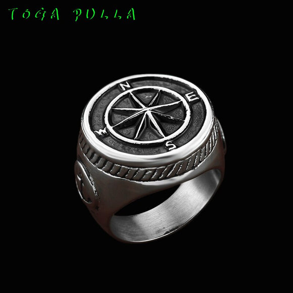 Vintage Silver Black Two Tone Compass Ring Men's Cool Punk Rock Viking Anchor Ring For Men Cothic Unique Biker Jewelry 2020 - goldylify.com