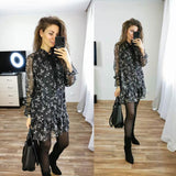 Women Ruffle Bow Tie Mini Floral Print Dress Vintage Long Sleeve Vestido Casual Loose Pleated Ladies Dress Ruffles Party Dresses - goldylify.com