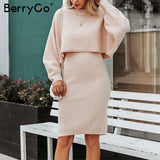 BerryGo Elegant 2 pieces women knitted dress Solid bodycon sweater dress Autumn winter ladies pullover work wear sweater suit - goldylify.com