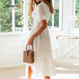 Simplee Elegant ruffled women wrap dress V neck plaid a-line female midi dresses Holiday beach style ladies white vestidos 2019 - goldylify.com