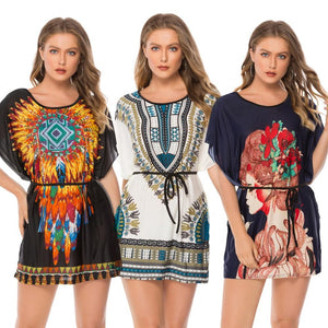New African Kitenge Dress Designs Women Plus Size O Neck Floral Printed Short Casual Designer Dresses Folk Sexy Maxi Dress