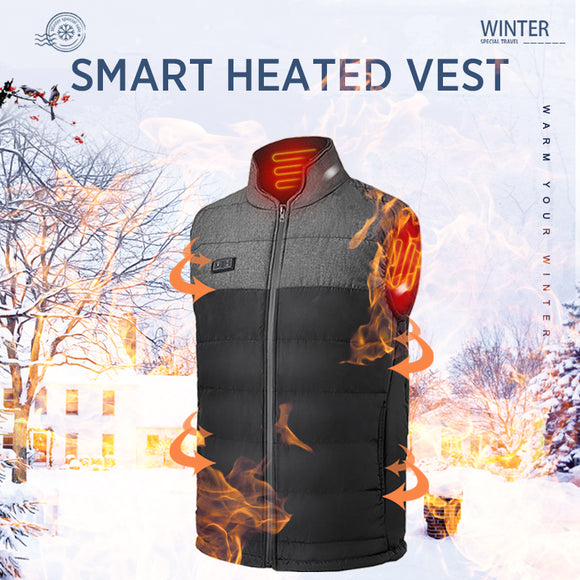 Men winter outdoor Heated Vest USB heating waistcoat male battery Heated Jacket thermal camping hiking clothing - goldylify.com