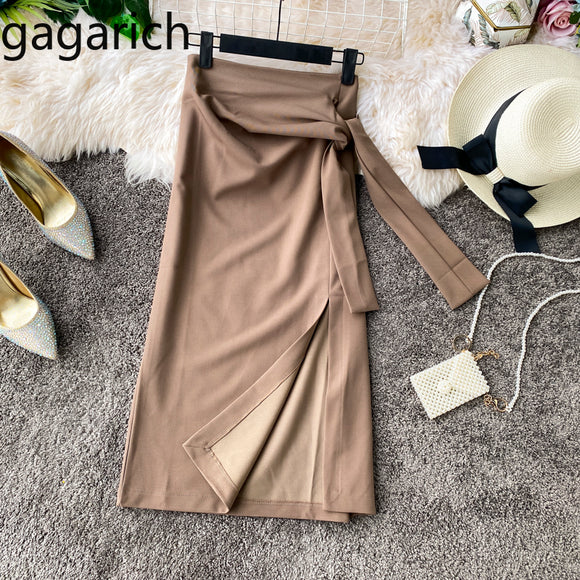 Gagarich Frauen Mode Bodycon Röcke Damen Frühling Herbst Casual Side Split Verband Jupe Femme Stilvolle Solide Rock Elegante