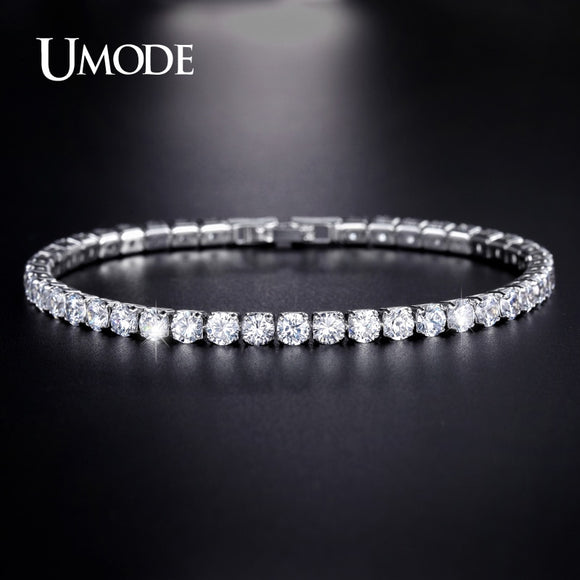 UMODE Clear Crystal Tennis Bracelet for Women Men Bracelet Cubic Zirconia Jewelry Party Wedding Hip Pop Accessories 2019 UB0097D - goldylify.com