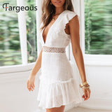 Fargeous Women Elegant White Embroidery Short Dress 2019 Summer Sexy V Backless Lace up Dress Female High Waist Party Vestidos - goldylify.com