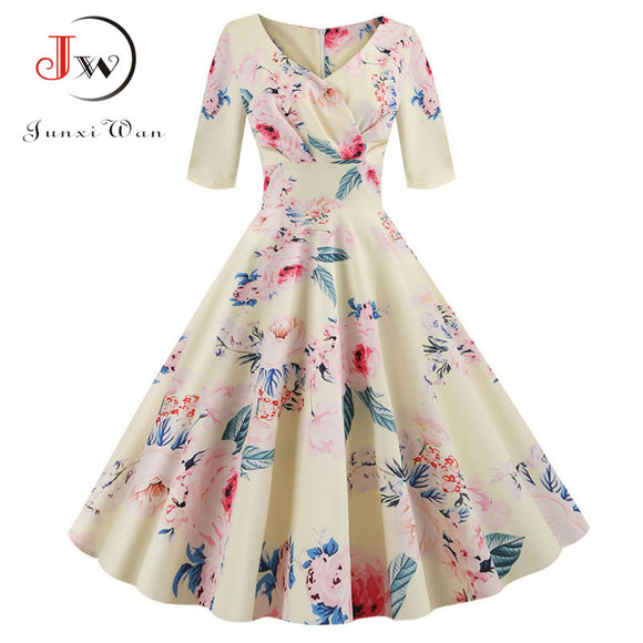 Women flower print Autumn dress Casual Winter half sleeve Elegant Vintage dress Robe femme plus size pinup office party vestidos - goldylify.com