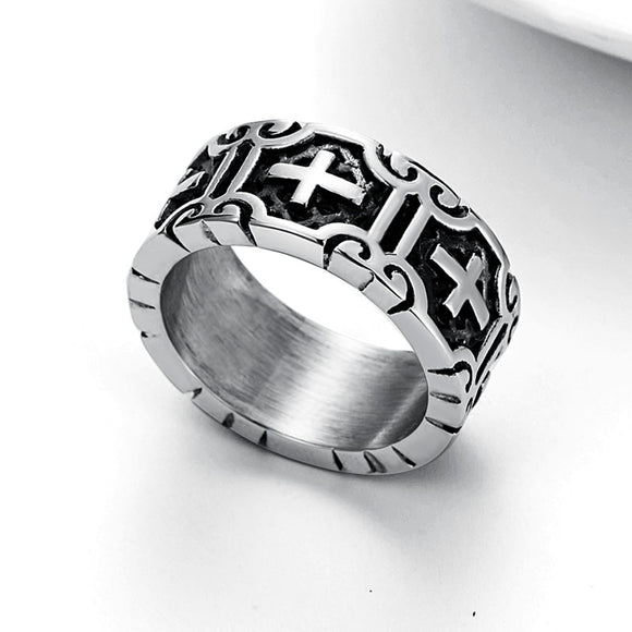 Valily Classic Retro Christian Jesus Cross Ring Stainless Steel Christian Believers Punk Rock Men's Round Rings Band Jewelry - goldylify.com