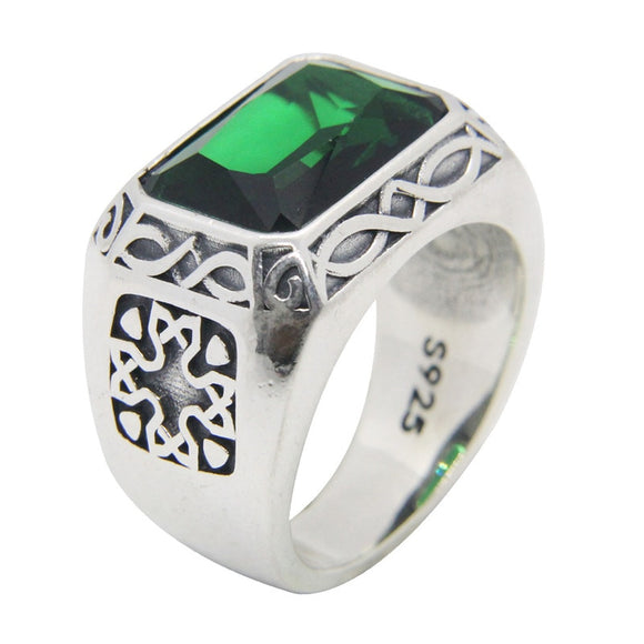 Size 6-12 Punk 925 Sterling Silver Green Eye Ring S925 Fashion Jewelry Green Stone Cross Silver Ring - goldylify.com