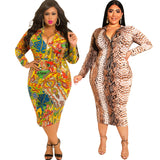 GX605A Fashion Winter Autumn Long Sleeve Plus Size African Women Casual Clothing Bodycon Sexy Long Maxi Dress
